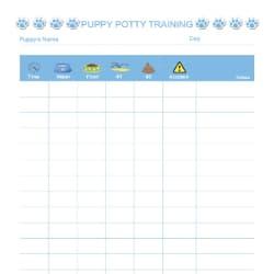 Pug training chart printable